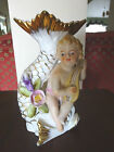 UCAGCO Japan Handpainted Vase with Fish & Musician Boy with Gold Trim 6