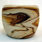 Vintage Nemadji Pottery Vase Swirled Brown Earthtones Bisque Marbled Clay Pot