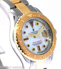 69623 Yachtmaster Rolex Ladies Watch Two Tone Pre Owned Pearl Ruby Dial w/Box