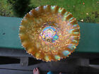 Carnival Glass Signed Northwood Marigold Good Luck Bowl Pie Crust Edge