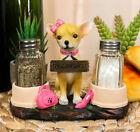 Hot Glamour Pink Girl Chihuahua Dog Glass Salt Pepper Shakers Holder Figurine