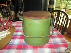 PRIMITIVE OLD FIRKIN SUGAR BUCKET -NEXT TO BOTTOM OF STACK - MED. GREEN  PAINT