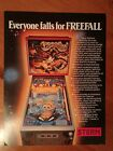 Original Stern Pinball Advertising Flyer Freefall