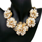 vintage antique styl jewellery gold plated fuax pearl flower bib choker necklace