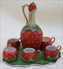 Art Nouveau Strawberry Liquor Set  Bohemain Bisque Porcelain  1900
