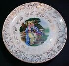 Victorian couple color transfer ware pottery cake plate w metal pedestal FREE SH