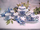 Blue Delft Tulip Tea Set 12 piece 4 cup Teapot