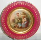 Superb Antique Royal Vienna Porcelain Crimson & Gold Plate w Shepherdess