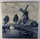 Vintage Dutch Delft Holland Blue & White Decorative Tile Windmill Bridge 6