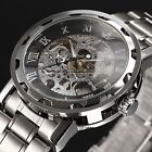 Mens Transparent Black Skeleton Hand-Winding Mechanical Dress Army Analog Watch
