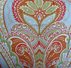Cynthia Rowley ORANGE GREEN BLUE *6pc KING COMFORTER BED SET Moroccan Medallion