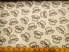 Brown Monkey Faces  Allover Off White Cotton Flannel Fabric BTY