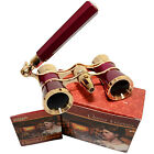 HQRP 3x25 Optics Theater Opera Glasses Burgundy Binocular Gold Trim with Handle