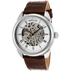 Invicta 42mm Specialty Mechanical Skeletonized Dial Brown Leather Strap Watch