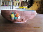 Old Antique Large Cornucopia Terra Cotta Fruit Bowl Ceramic Marked Made in Italy