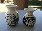 ARTIST SIGNED MATCHING  GLAZED POTTERY MATCHING BLUE/ WHITE VASES FISH DESIGN