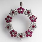 Floral Circle Brooch Pin Pendant w/ Diamonds & No Heat Rubies 14K White Gold