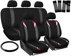 Car Seat Covers for Nissan Altima Red Gray Black w/Steering Wheel/Belt/Head Rest