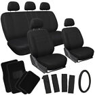 17pc Set Solid All Black Car Seat Cover Steer Wheel Pad+Head Rests+ Floor Mats