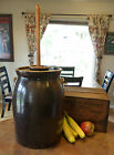 EARLY 5 Gallon Salt Glazed Butter Churn Crock with Ear Handles Lid and Paddle!!