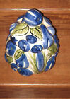 BIG FAT BLUE FRUIT AND VEGETABLE COOKIE JAR PAINTED AND GLAZED