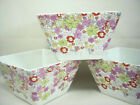NEW! 222 Fifth China Set/ 4 FLORAL RIOT Lilac Daisy Square Snack Bowls