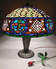 Vintage Tiffany Style Leaded Stained Glass Lamp w/Jewels Many Colors 22In Shade