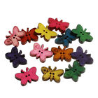 New Painted 100 Mixed Wood Sewing Buttons Butterfly Shape 2 Hole 23x17mm