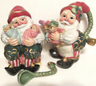 Fitz & Floyd Classics Christmas Court Santa Elf Cream & Sugar Set - Nwd