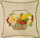 Vintage Erica Wilson Flower Basket Crewel on Linen Pillow Kit