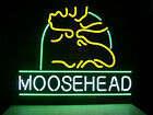NEW MOOSEHEAD LAGER ALE MAINE MOOSE REAL GLASS NEON BEER BAR PUB LIGHT SIGN