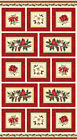 CHRISTMAS TRADITIONS NORTHCOTT PANEL RED CARDINALS HOLLY LEAVES