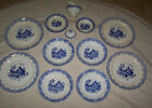 Antique China Blue and White, Blue Willow-like style Plates and Bowls, 12 pieces