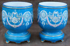 French Old Paris Gold Blue Porcelain Pair Jardiniere Cache Pot Garland  1860
