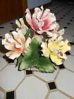 Vtg Capodimonte Italy Flower floral center piece roses yellow,pink,orange