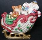 FITZ & FLOYD china KRIS KRINGLE pattern SANTA CLAUS Sugar Bowl, Lid and Spoon
