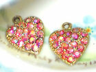 1286J Vintage Heart Charms Rhinestone Rose AB Dangles Drops Glass Hearts Gold