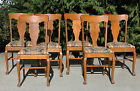 Set 6~ Antique Solid Tiger Oak T Back Dining Chairs w Paw Feet c1900