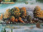 Elusive Catch Fabric Lake Trees Rocks Golden Landscape OOP By Yard Sewing Crafts