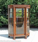 Tiger Oak Victorian Bow Front China Closet Full Columns Large Paw Feet w Key
