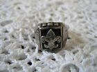 Boy Scout Ring With Onyx ? Size 8.5 BSA Sterling Silver Vintage Antique