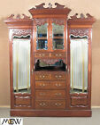 c1885 Large Antique Mahogany Sectional Wardrobe w/ Drawers & Closet baj92c