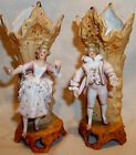 Antique Complimenting Pair German Bisque Spill Vase Fairings Dandy Man