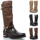 Women Rubber PU Leather Waterproof Riding Knee High Snow Winter Rain Boot US5-11