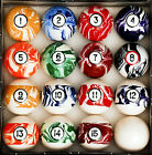 Marble Swirl Pool Table Billiard Ball Set 2 1 4 Reg Size + Weight 6 oz