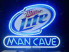 NEW MILLER LITE MAN CAVE REAL GLASS NEON BEER LAGER BAR PUB LIGHT SIGN