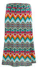 NEW for Women by Jon & Anna Teal/Orange Abstract Slinky Maxi Skirt Plus 2X