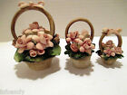 3 Vintage Capodimonte Miniature Porcelain Floral Pink Rose Baskets Made in Italy