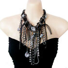 vtg antique style jewellery steampunk rhinestone multi chain choker bib necklace