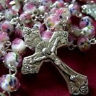 Handmade PINK ROSE Veluriyam BEADS ROSARY & ITALY CROSS MADEL Catholic necklace